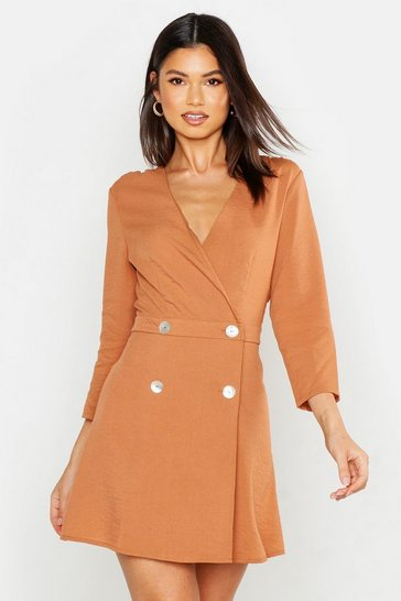 Womens Rust Collarless Double Breasted Blazer Dress