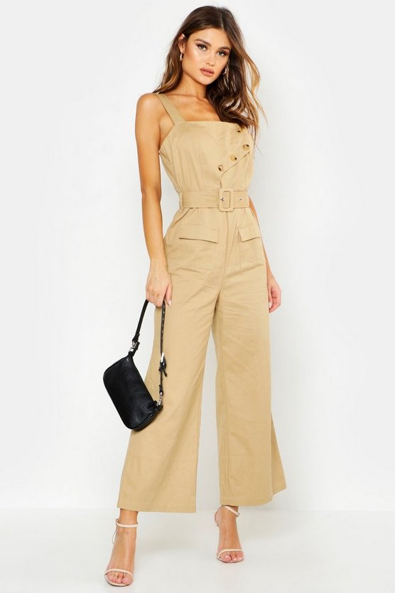 Womens Stone Utility Detail Belted Jumpsuit