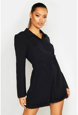 Womens Black Ruched Waist Shirt Playsuit