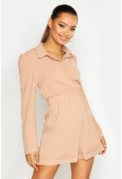 Womens Camel Ruched Waist Shirt Romper