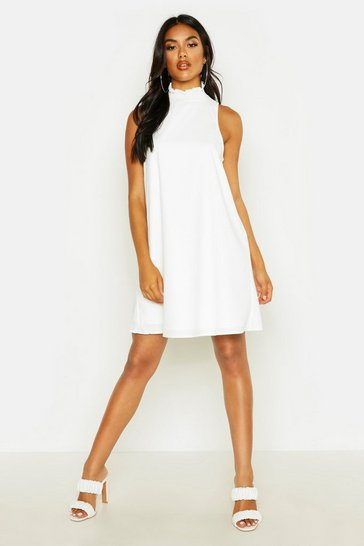 Womens Ivory Shirred High Neck Sleeveless Smock Dress