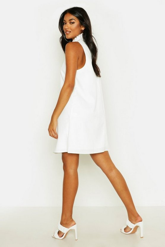 Shirred High Neck Sleeveless Smock Dress