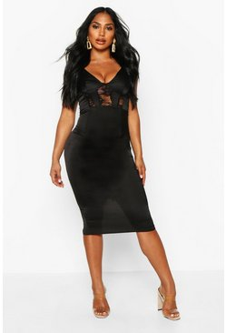Womens Black Lace Insert Cami Midi Dress