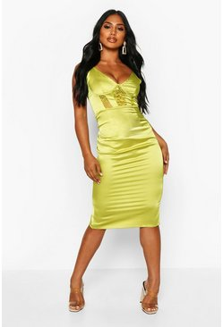 Womens Lime Lace Insert Cami Midi Dress