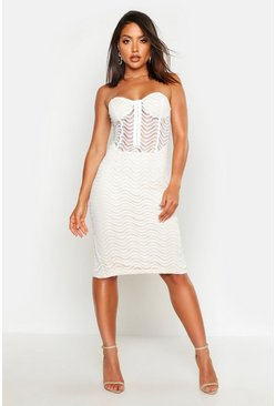 Ivory Bandeau Corset Detail Mesh Midi Dress