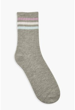 Grey marl Pastel Sports Stripe Socks
