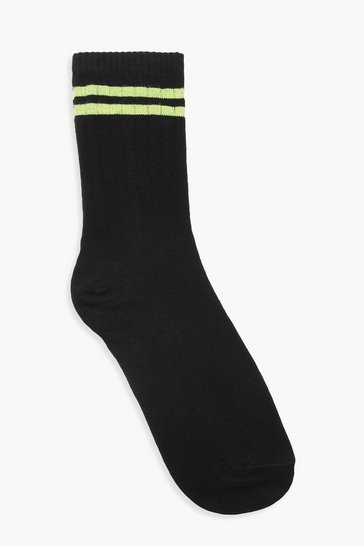 Womens Black Neon Sports Stripe Socks