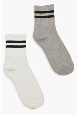 Womens White Sports Stripe 2 Pack Sock