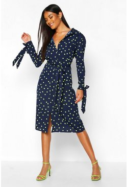 Womens Navy Woven Neon Spot Midi Shirt Dress