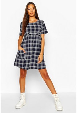 Womens Navy Gingham Smock Dress
