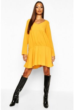Mustard Long Sleeve Smock Dress