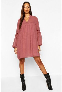 Womens Dusty rose Dobby Lace Trim Smock Dress