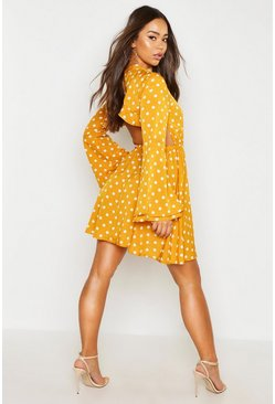 Womens Mustard High Neck Polka Dot Open Back Skater Dress