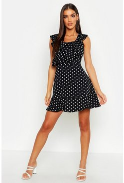 Womens Black Polka Dot Frill Skater Dress
