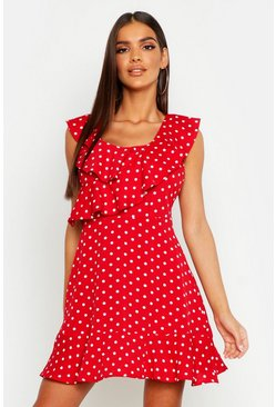 Womens Red Polka Dot Frill Skater Dress