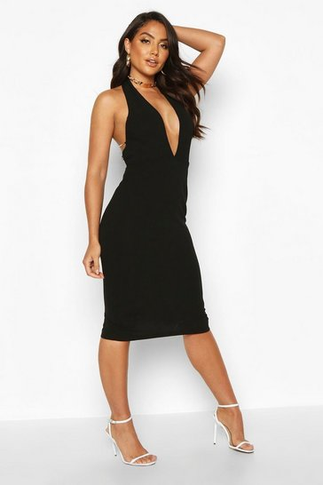 Womens Black Halterneck Diamante Strap Midi Dress