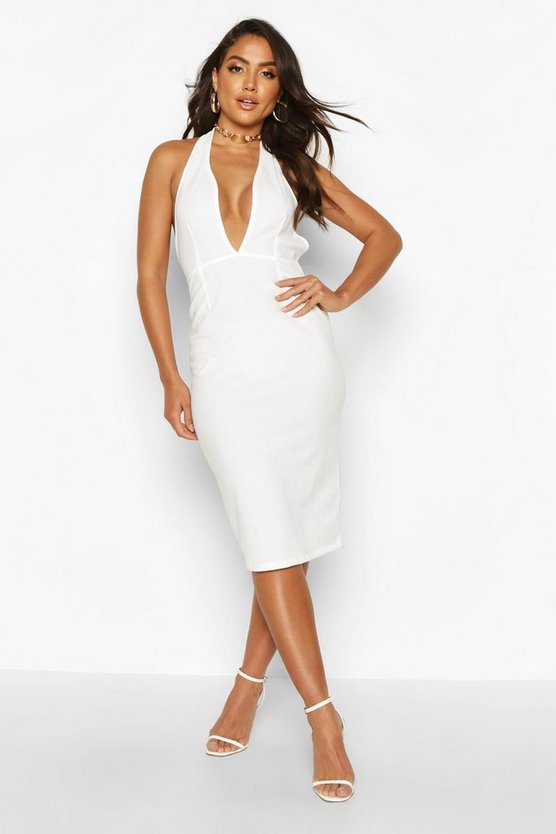 Womens Ivory Halterneck Diamante Strap Midi Dress