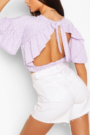 Lilac Polka Dot Ruffle Sleeve Tie Neck Top