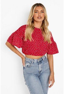 Red Polka Dot Ruffle Sleeve Tie Neck Top