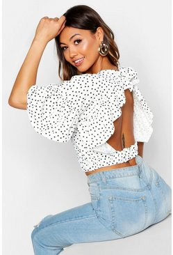 Womens White Polka Dot Ruffle Sleeve Tie Neck Top