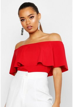 Womens Red Crepe Off The Shoulder Crop Top