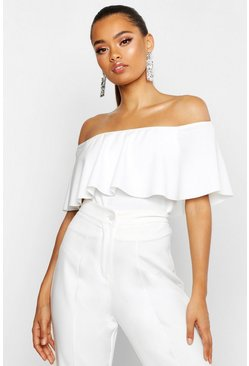 Womens White Crepe Off The Shoulder Crop Top