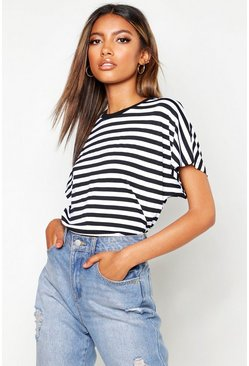 Womens Black Stripe Batwing Cap Sleeve T-Shirt