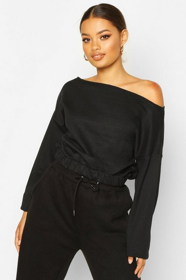 Black Basic Slash Neck Drop Shoulder Sweat
