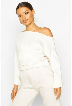 Ecru Basic Slash Neck Drop Shoulder Sweat