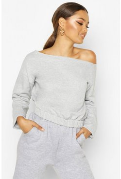 Grey marl Basic Slash Neck Drop Shoulder Sweat