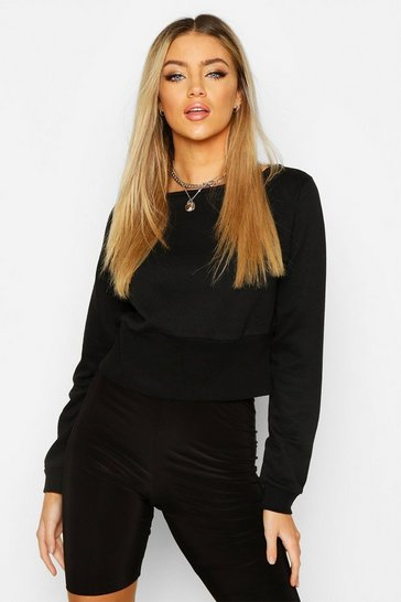 Womens Black Fitted Waist Sweater