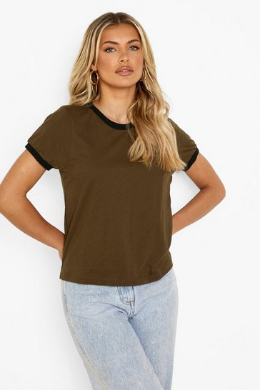Womens Khaki Cotton Ringer T-Shirt