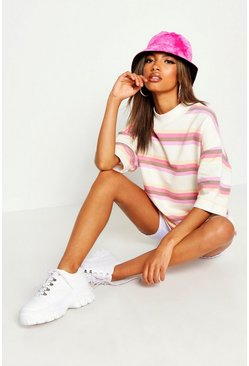 Womens Cream Striped Oversized Drop Shoulder Sweat