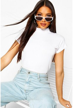White Basic Cap Sleeve High Neck T-Shirt