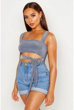 Womens Charcoal Double Layer Crop Top With Tie Front