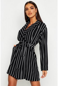 Womens Black Stripe Blazer Dress
