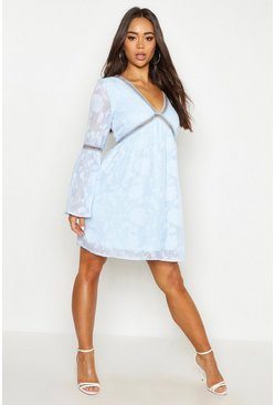 Womens Washed blue Burnout Floral Trim Smock Dress