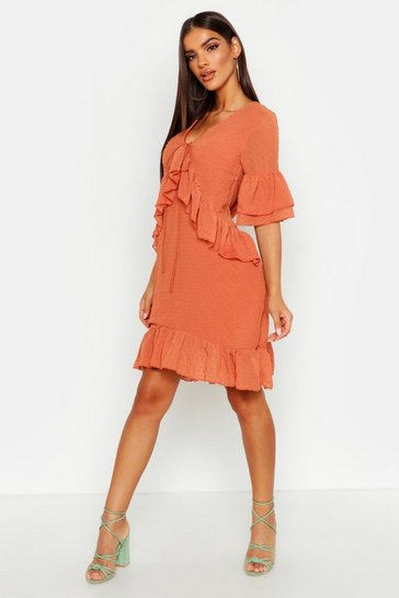 Womens Rust Oversized Dobby Ruffle Smock Dress