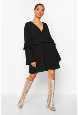 Womens Black Frill Detail Smock Dress
