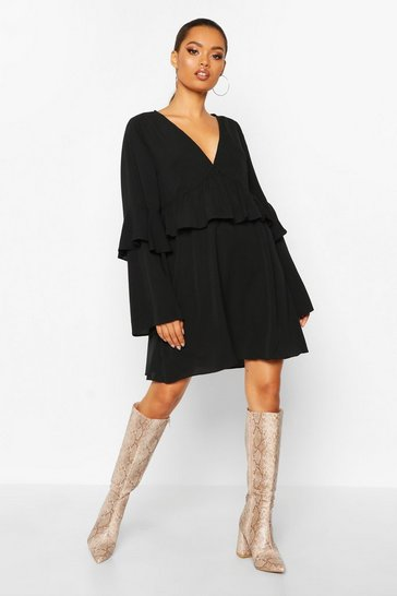 Black Frill Detail Smock Dress
