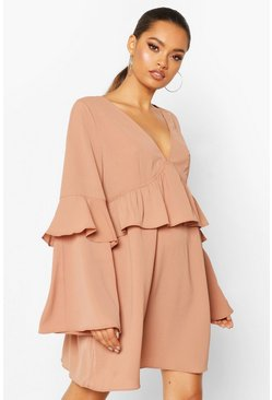 Mink Frill Detail Smock Dress