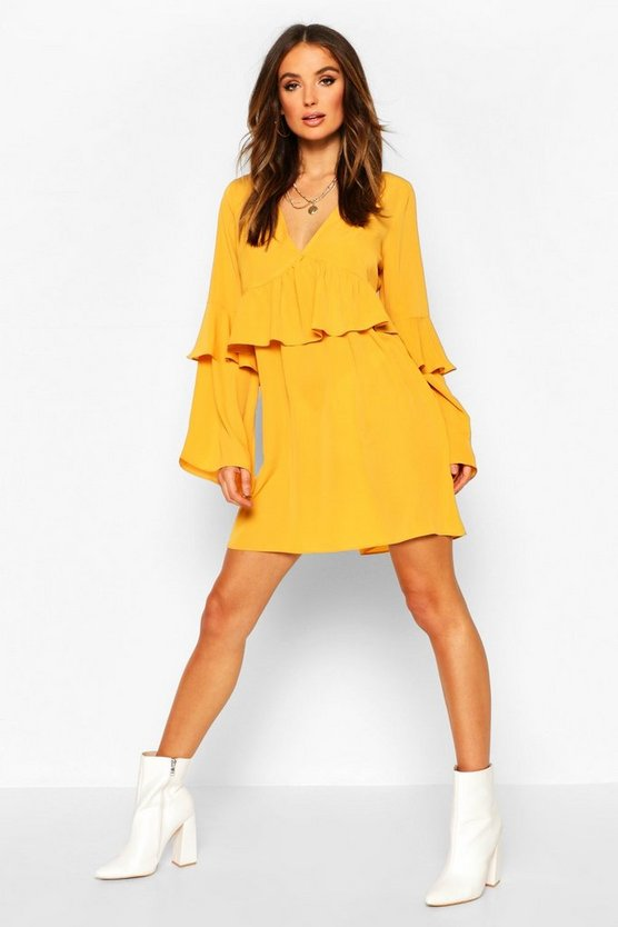Mustard Frill Detail Smock Dress