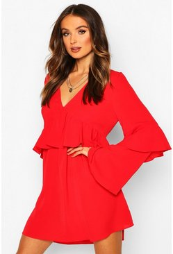 Red Frill Detail Smock Dress