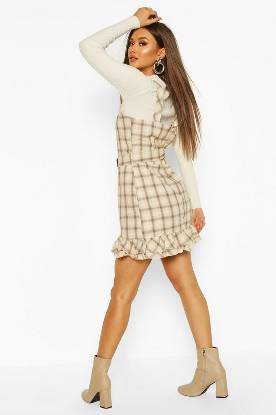Check Belted Pinafore Dress