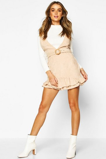 Womens Stone Cord Frill Hem Belted Mini Dress