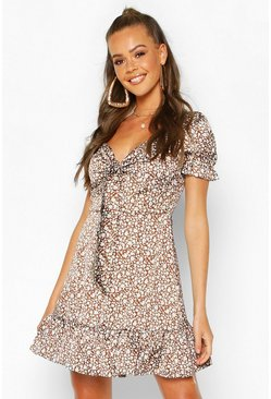 Brown Ditsy Floral Print Tie Front Mini Dress