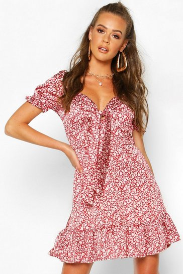 Womens Red Ditsy Floral Print Tie Front Mini Dress