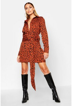 Womens Rust Tie Detail Shirt Dress