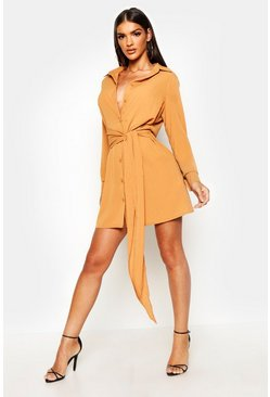 Womens Caramel Tie Detail Shirt Dress