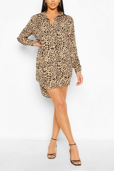 Brown Leopard Print Oversized Dipped Hem Shirt Dress